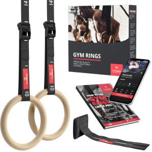Gymnastic Rings Set Wood + Door Anchor Attachment